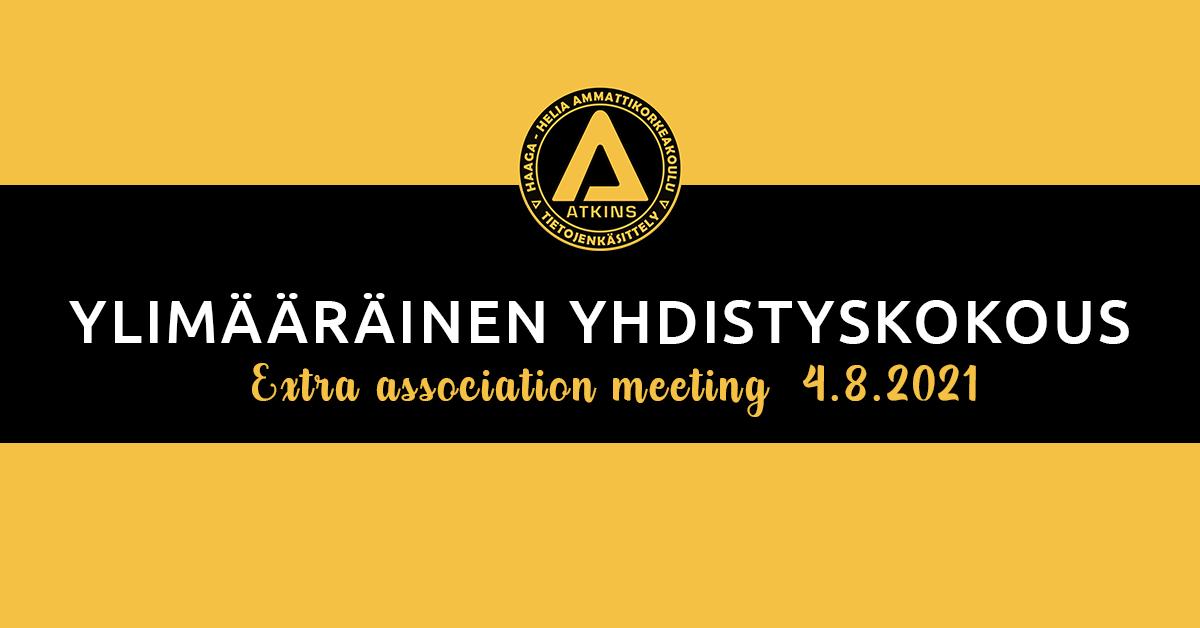 Ylimääräinen yhdistyskokous 4.8.